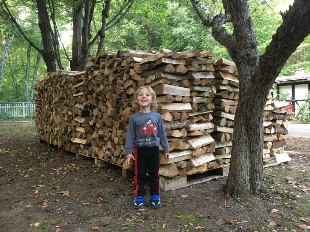 Grayson posing in front of four cords of stacked firewood.