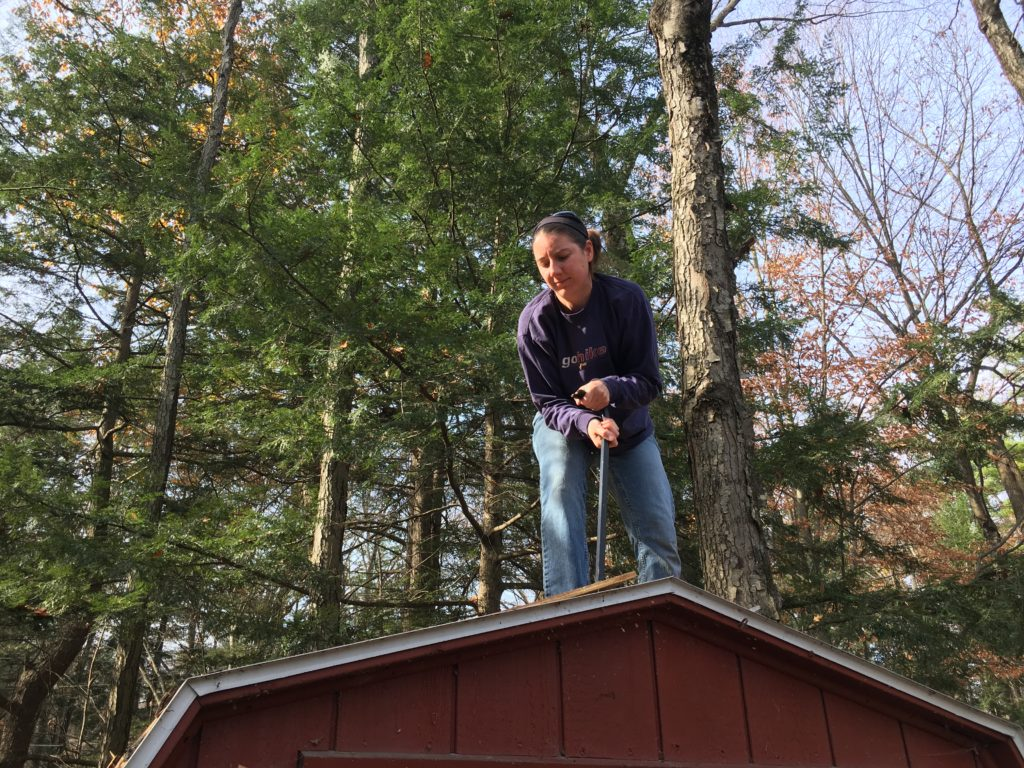 Kelsey on the shed roof with a crowbar